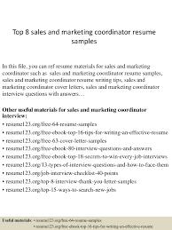 Sales Coordinator Sample Resume Top8salesandmarketingcoordinatorresumesamples 150406201130 Conversion Gate01 Thumbnail 4 Jpg Cb U003d1428369136