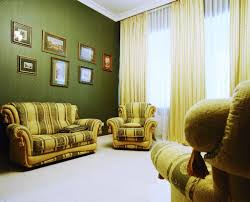 sage green walls with two tone green colors sofa for comfy living