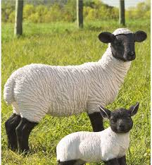 standing suffolk sheep resin garden statue collection accessories