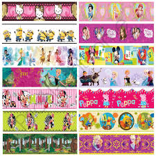 girls character self adhesive wallpaper borders frozen peppa