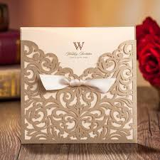 lace hollow laser cut flower wedding invitation card with bowknot