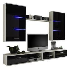 Wohnzimmerschrank Ohne Tv Wohnwand Anbauwand Schrankwand Ben Weiß Mit Schwarzen Glasfronten