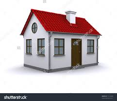 a small house with red roof on white background stock photo save
