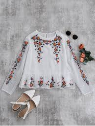 embroidered blouses ruffles floral embroidered blouse white blouses m zaful