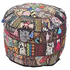 Foot Ottomans Indian Traditional Black Ottoman Pouf Cover Black