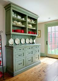 custom built in hutch with inset shaker style drawers open