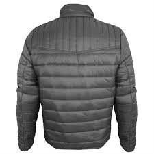 mens threadbare padded panel quilted funnel neck puffa jacket