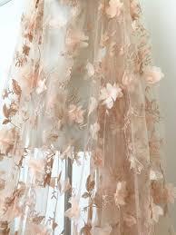 tissus robe de mari e tissu dentelle fleur 3d en pêche tulle de mariée dentelle