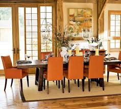 decoration lovely cream furry rug and orange leather dining