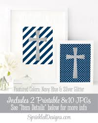 Blue And White Flag Cross Silver Glitter Cross Wall Art Navy Blue White Set Of 2