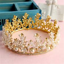 bride rhinestone crystal pearl crown tiara headband jewelry queen