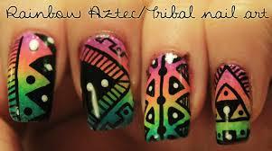 rainbow aztec tribal nail