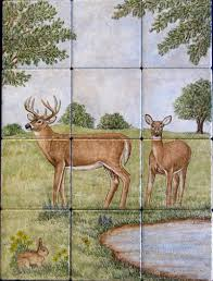 wildlife scene texas white tailed deer buck and doe art leopard wildlife ceramic mural backsplash bath tile ebay