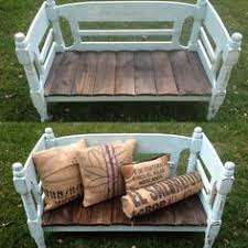 Bed Frame Bench Large Bed Made From A Pallet And Wooden Shelves