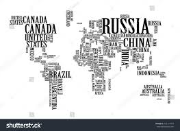 Costa Rica On World Map by World Map Countries Name Text Typography Stock Vector 452118016