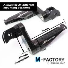shinobi black adjustable rear footpegs 40mm for yamaha fjr 1300 01