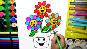 draw color paint smiling flower pot coloring page and learn colors