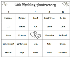 60 year anniversary party ideas 25th anniversary party bingo 60 cards by buymesomehappiness