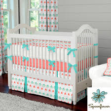 Trendy Baby Bedding Crib Sets by Coral And Teal Arrow Crib Bedding Chevron Fabric Carousel