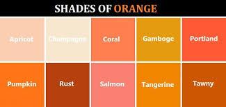 shades of orange names shades of orange color chart ohio trm furniture