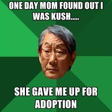 one day mom found out i was kush she gave me up for adoption