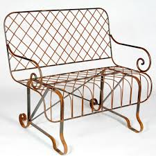 wrought iron front porch bench metal park seating
