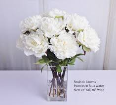 Peony Floral Arrangement by White Cream Pink Silk Peony Peonies Glass Vase Faux Water