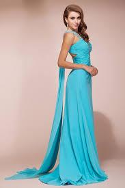 robe turquoise pour mariage robe longue asymétrique strassée fendue dos découpé en