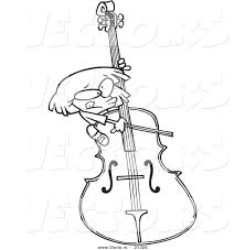 vector of a cartoon playing a giant bass outlined coloring