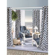 White Outdoor Curtain Panels Greek Key Indoor And Outdoor Print Curtain Panel Greek Key 50x84
