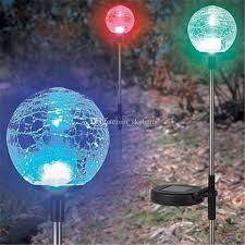 Colour Changing Solar Garden Lights - 2017 led crackled glass ball garden lights solar powered outdoor