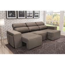 chaise e 60 sofá 3 lugares com puff e chaise veneza tj1455 somopar animale bege