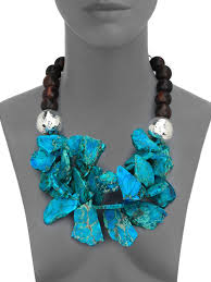beaded statement necklace images Lyst nest turquoise jasper ebony wood cluster beaded statement jpeg