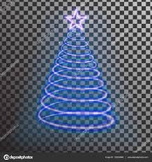 blue neon christmas tree light tree effect with big yellow star