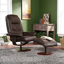 brown bonded reconstituted leather recliner and ottoman 6637063