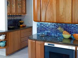 Green Kitchen Tile Backsplash Glossy Ocean Blue Tile Backsplash Wooden Cabinet With Open Shelves