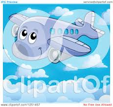 clipart of a happy cute airplane above the clouds royalty free