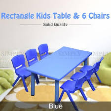 kids table and 6 chairs set children activity large plastic play outdo