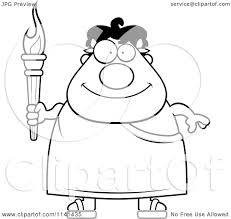 cartoon clipart of a black and white happy greek man holding an