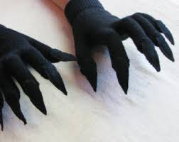 black claws claw gloves charcoal gray and black for costume or