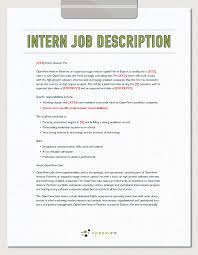 sample of resume with job description intern job description template and hiring plan openview labs intern job description