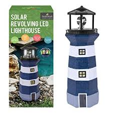 benross gardenkraft solar lighthouse garden ornament
