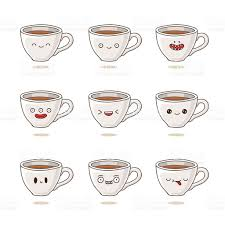 Cute Coffee Cups Cute And Funny Coffee Cups With Different Emotions Stock Vector