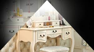 Dressing Table Set Tribesigns French Vintage Ivory White Vanity Dressing Table Set