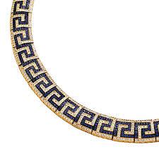 key choker necklace images Meander greek key necklace k293 silver gold zircon culturetaste jpg