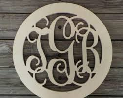 monogram guest book wooden monogram in scalloped circle border unfinished wood