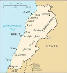 lebanon on the map of lebanon