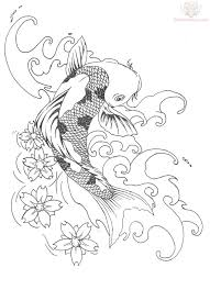 koi fish pisces and blossoms tattoos sketch in 2017 real photo