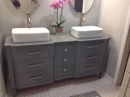 gray dresser turned vanity chic bathroom vanity from