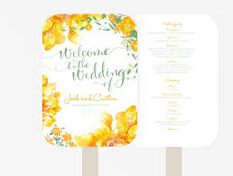 fan program wedding fan program editable ms word template diy floral green